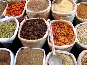 Spices in an Indian market