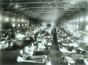 Soldiers from Fort Riley, Kansas, ill with the Spanish Flu